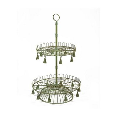 Antique Iron 2 Tier Food Platter Display Stand