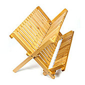 Woodluv Bamboo Folding Dish Drainer Rack Cutlery Stand
