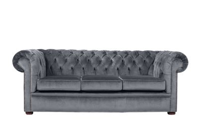Snug City 3 Seater Crushed Velvet Graphite Chesterfield Sofa, Made In the UK.