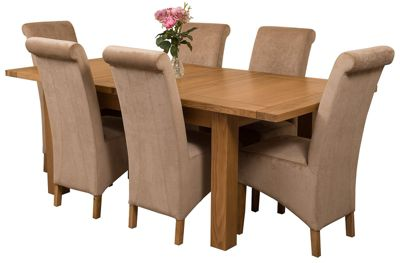 Seattle Extending Kitchen Solid Oak Dining Set Table + 6 Beige Fabric Chairs