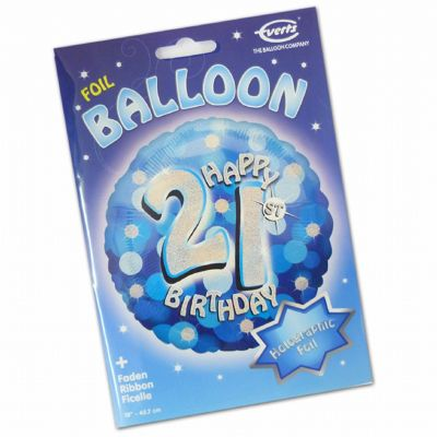 Blue Sparkle Happy 21st Birthday Foil Balloon