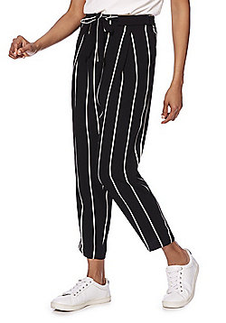 F&F Striped Tapered Peg Leg Trousers - Black/White