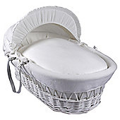 Clair de Lune White Cotton Candy Wicker Moses Basket, White