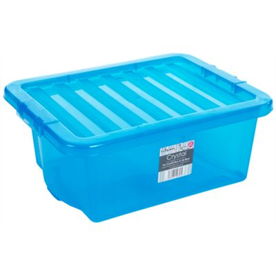 Wham 16L Crystal Box & Lid Tint Blue - Pack of 4