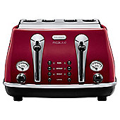 DeLonghi CTOM4003.R Icona Micalite 4 Slice Toaster - Red