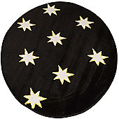 Starry Black Glow in The Dark, Circular Rug 100 x 100 cm