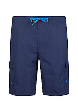Mountain Warehouse Mens Beach Shorts with Polyester Durable and Soft Ventilated - Blue