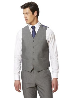 F&F Check Regular Fit Waistcoat Silver Grey 38 Chest regular length