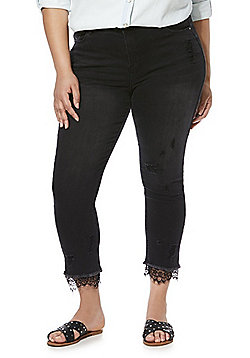 Simply Be Drew Lace Hem Plus Size Skinny Jeans - Washed Black