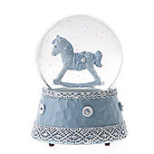 Baby Boy Rocking Horse Musical Snowglobe