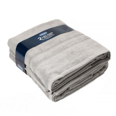 Silentnight 100% Cotton 525gsm Towels - 2 Piece Bath Sheet Set - Grey