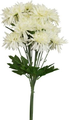 Artificial Long Stem Chrysanthemum Flowers In White - 68cm - Bunch Of 6 Stems