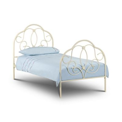 Happy Beds Arabella Metal High Foot End Bed with Orthopaedic Mattress - Stone White - 3ft Single