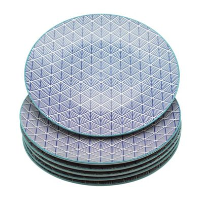 Geometric Design Patterned Dinner Plate - 265mm (10.5 Inches) - Blue - Box of 6