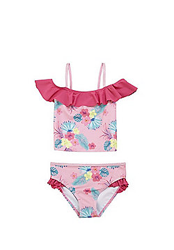 F&F Tropical Floral Print Bardot Tankini Set - Pink