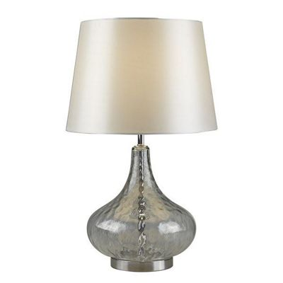 CANTATA CLEAR GLASS TABLE LAMP, WHITE SHADE