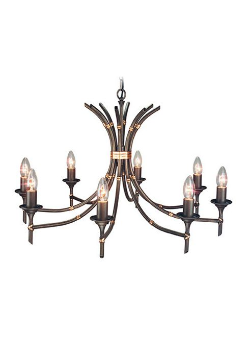Elstead Lighting Bamboo Eight Light Candle Chandelier