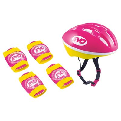 Evo Scooter Protection Set With Helmet & Pads, Pink, Medium 52 – 56 cm