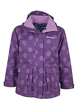 Gretel Kids Girls Spotted Hooded Waterproof Rain Coat Jacket - Purple