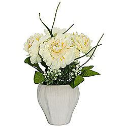 Pretty Artificial White Peonies and White Blossoms in White Ceramic Vase