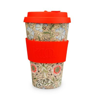 Ecoffee Cup & William Morris Corncockle with Red Silicone 14oz
