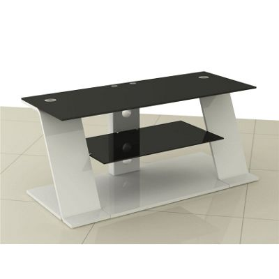 LED/LCD MDF & Glass TV Stand up to 52 Inches - White & Black