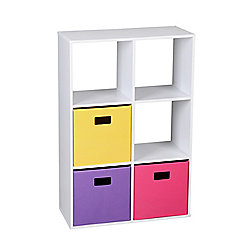 6 Cube Organizer Bookshelf Toy Storage With 3 Canvas Bins White