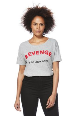 Noisy May Revenge Slogan Marl T-Shirt L Grey