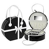 Large Round Jewellery Box / Bag - Black / White
