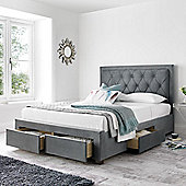 Happy Beds Woodbury Velvet Fabric 4 Drawers Storage Bed with Bonnell Spring Mattress - Grey