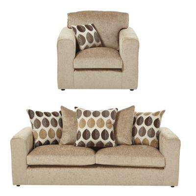 Whitton Armchair + 3 Seater Sofa Set, Taupe