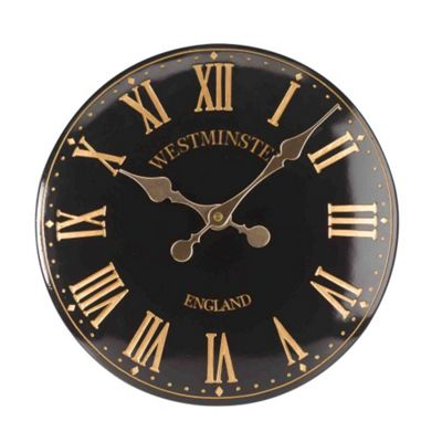 Outside In Westminster Tower Black Wall Clock 12in