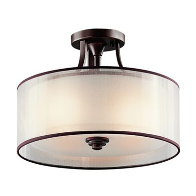 Mission Bronze Small Semi-Flush Mount - 3 x 100W E27