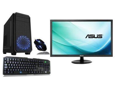 Cube Nexus Quad Core 8GB 1TB Radeon Vega 8 Graphics ESports Gaming PC Bundle with 23.6 HD Screen WIFI Keyboard & Mouse Win 10