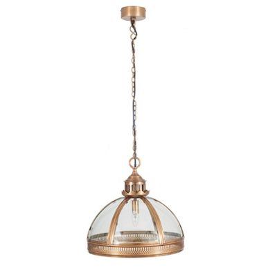 Antique Brass and Clear Glass Dome Elec Pendant