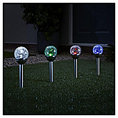 2 In 1 Colour Changing Crackle Solar Stake - Pack of 4