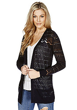 F&F Pointelle Knit Open Front Long Line Cardigan - Navy