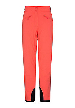 Mountain Warehouse Womens Waterproof Isola Extreme Ski Pants w/ Multiple Pockets - Coral