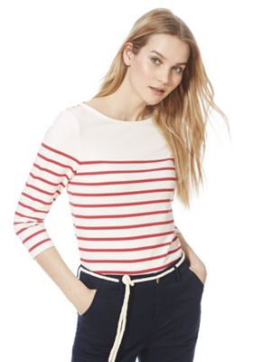 F&F Striped 3/4 Sleeve T-Shirt Cream/Red 14