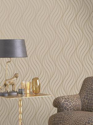 Maddox Geometric Wave Wallpaper Gold Holden Decor 65262