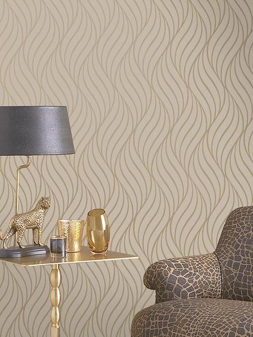 Maddox Geometric Wave Wallpaper Gold Holden Decor 65262