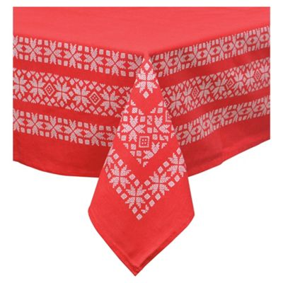 Tesco Scandi Table Cloth Red