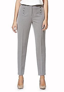 F&F Button Detail Ankle Grazer Slim Leg Trousers - Grey