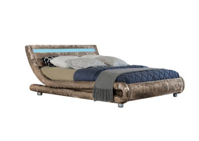 Comfy Living 4ft6 Double Crushed Velvet Curved Bed Frame with LED Display in Truffle with Damask Orthopaedic Mattress