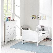 East Coast Angelina 2 Piece Nursery Set + Sprung Mattress - White/Grey
