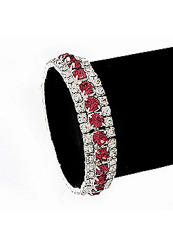 Pink & Clear Swarovski Crystal Flex Bracelet (Silver Tone Metal) - 18cm Length