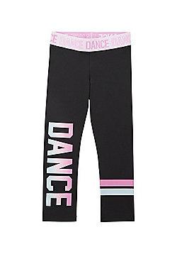 F&F Active Dance Slogan Leggings - Black