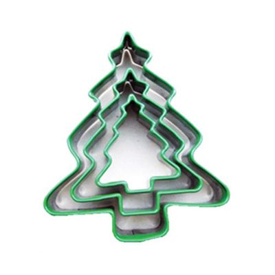 Ribbon Tied Christmas Tree Cutters, Green, Set fo 3