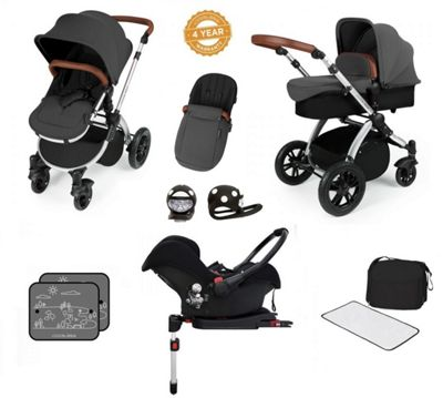 Ickle Bubba Stomp V3 AIO Isofix Travel System/Buggy Lights Graphite Grey (Silver Chassis)