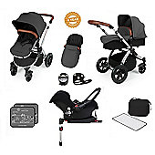 Ickle Bubba Stomp V3 AIO Travel System/Isofix Base/Buggy Lights Red (Silver Chassis)